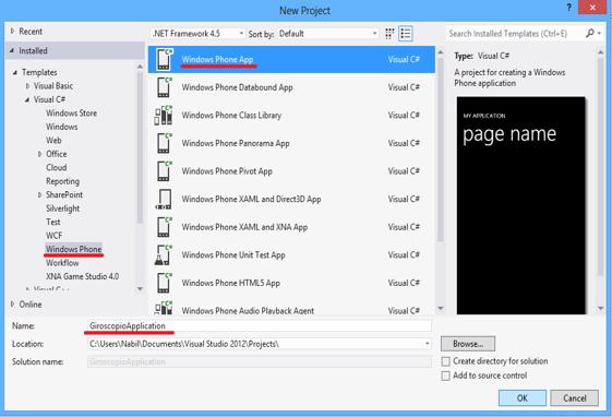Criação do projeto GiroscopioApplication no Visual Studio