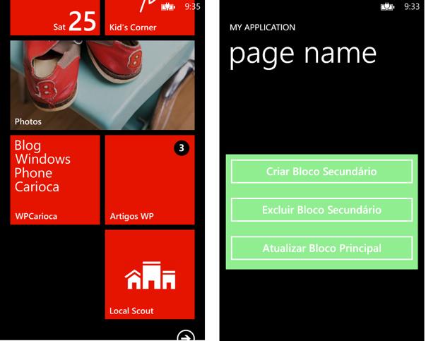 Aplicação em funcionamento e Live Tiles na tela inicial