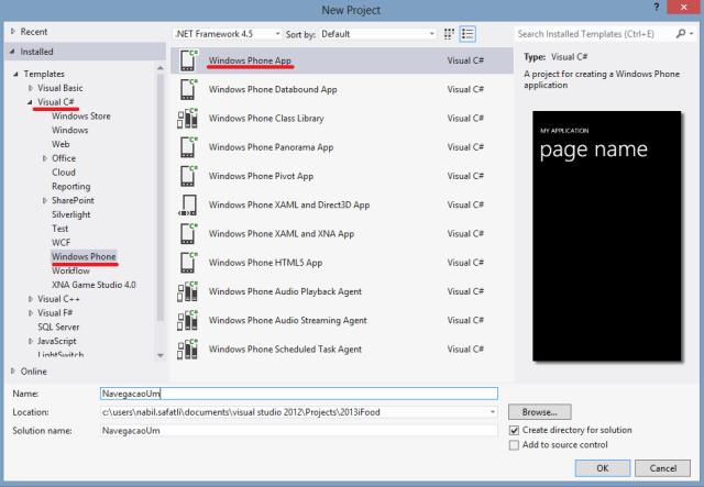 Criação do Projeto NavegacaoUm no Visual Studio