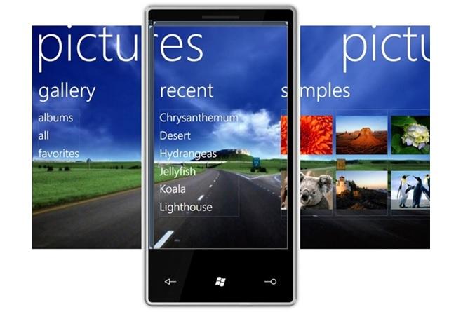 Galeria de imagens do Windows Phone com o template Panorama