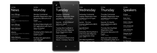 Template Pivot do Windows Phone exibindo as notícias de cada dia da semana