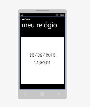 Layout do aplicativo TimersWindowsPhone