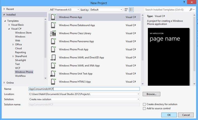 Criação do projeto AppConsumindoWCF no Visual Studio