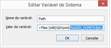 Configuração das variáveis de ambiente Path