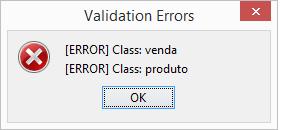Erros de validação
