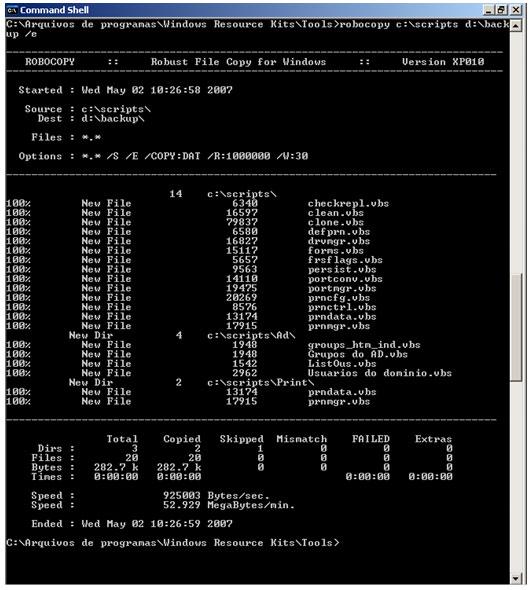 Figura 3. Cópia para o diretório Backup