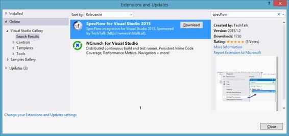 Selecionando a extensão para uso do SpecFlow com o Visual Studio 2015