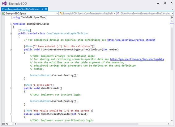Código gerado automaticamente para a classe ConvTemperaturaStepDefinition
