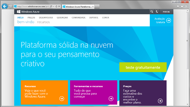 P�gina inicial da plataforma Windows Azure