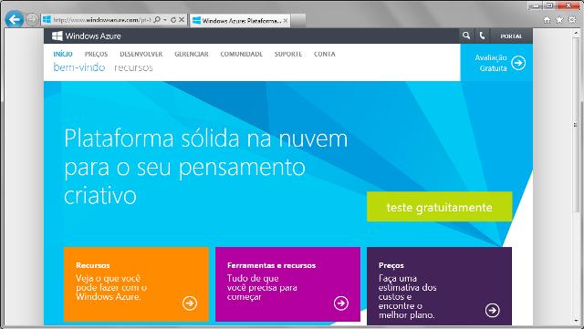 Página inicial da plataforma Windows Azure
