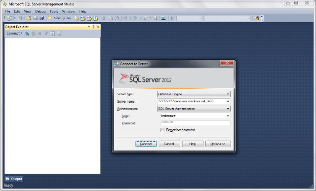 Conectando-se ao SQL Azure via Management Studio