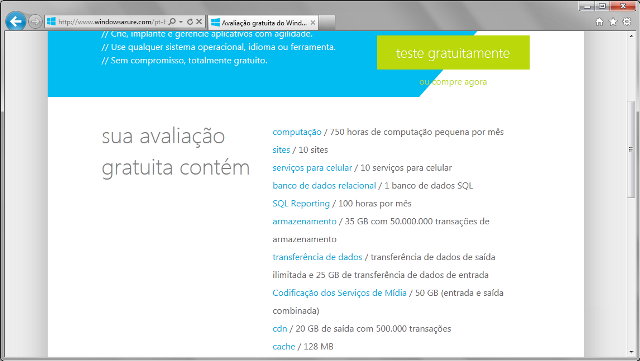 Recursos da avalia��o gratuita do Windows Azure