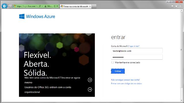 Informando uma conta para acesso ao Windows Azure