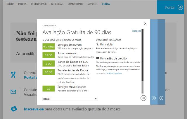 Recursos da Avaliação gratuita do Windows Azure