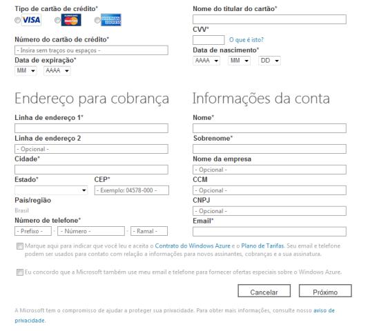 Informações de cobrança solicitadas na criação da conta de acesso à plataforma Azure