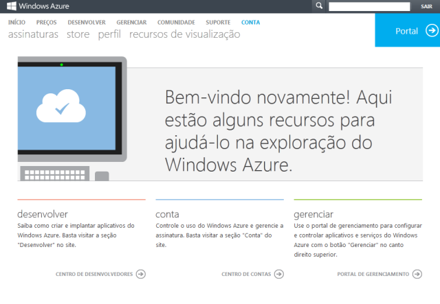 Tela inicial para o gerenciamento de recursos da plataforma Azure