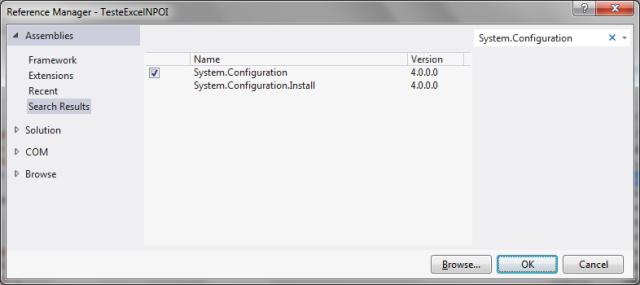 Adicionando ao projeto uma referência à biblioteca System.Configuration.dll