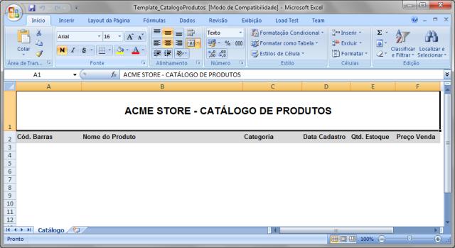 Criando o arquivo de modelo Template_CatalogoProdutos.xls