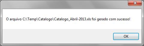 Confirmação de que o arquivo .xls foi gerado