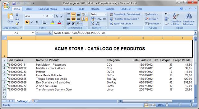 Arquivo .xls com informações do catálogo de produtos