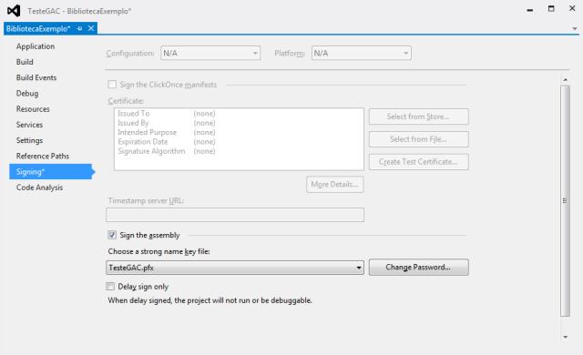 Gerando a assinatura de uma biblioteca no Visual Studio 2012