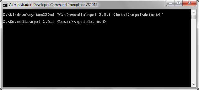 Prompt de comandos do Visual Studio 2012