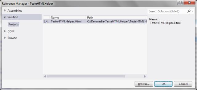 Adicionando uma referência à biblioteca TesteHTMLHelper.Html