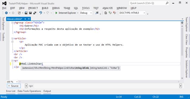HTML Helper já disponível para utilização em Views