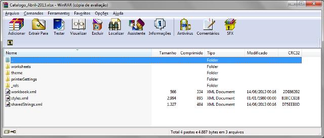 Arquivo .xlsx sendo visualizado por meio do utilitário WinRAR</