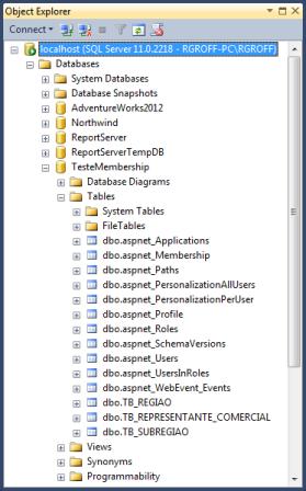 Banco de dados TesteMembership com as estruturas do ASP.NET Membership já criadas