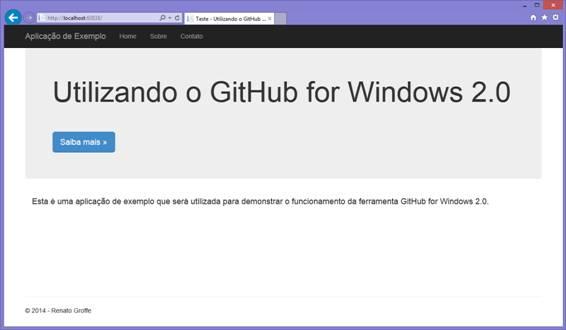 Tela inicial da aplicação TesteGitHubWindows