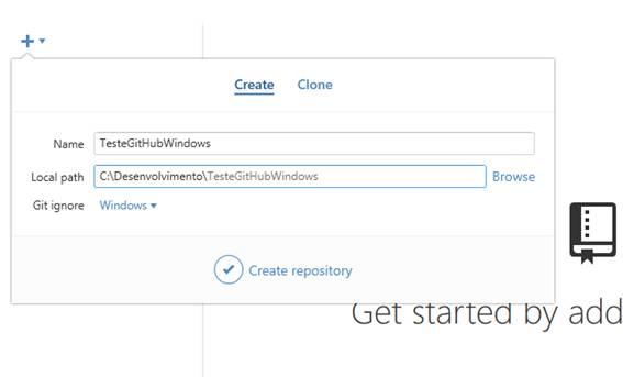 Criando um novo repositório no GitHub for Windows 2.0