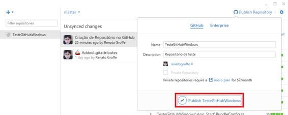Confirmando a publicação do repositório TesteGitHubWindows
