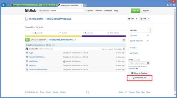 Repositório TesteGitHubWindows já publicado no GitHub