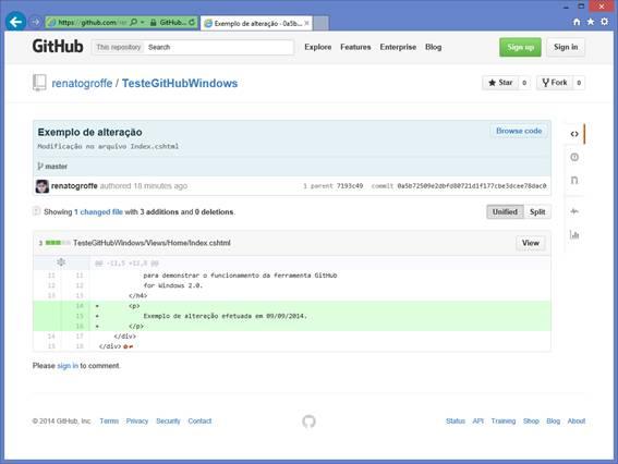Detalhamento de uma mudança no serviço GitHub na Web