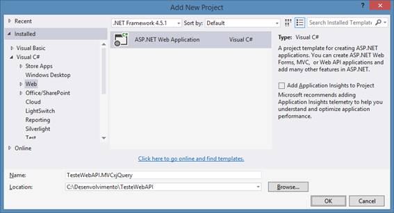 Criando uma ASP.NET Web Application no Visual Studio 2013