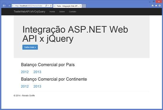 Tela inicial da aplicação TesteWebAPI.MVCxjQuery