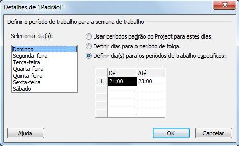 Configuração de Horários do Projeto