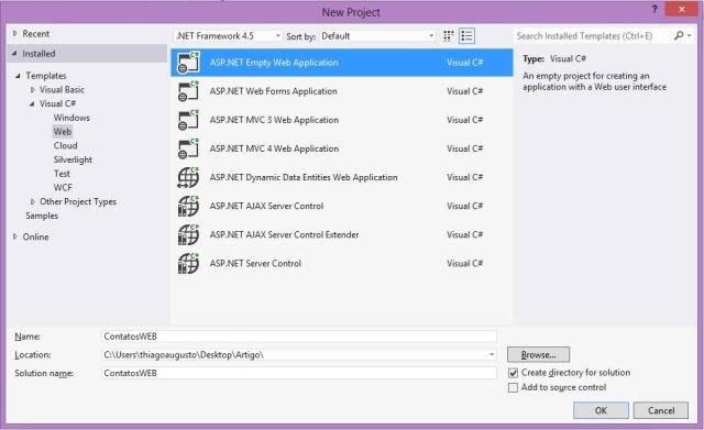 Criação de um novo projeto ASP.NET em branco