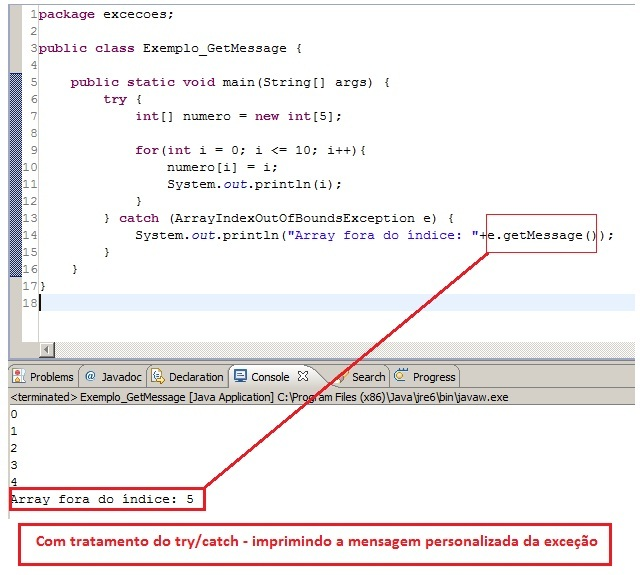 Visualização do código com tratamento de exceção personalizada