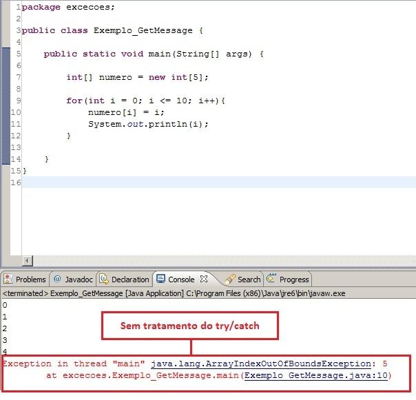 Visualização do código sem tratamento de exceção personalizada