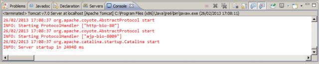 View Console, após o Tomcat ser iniciado