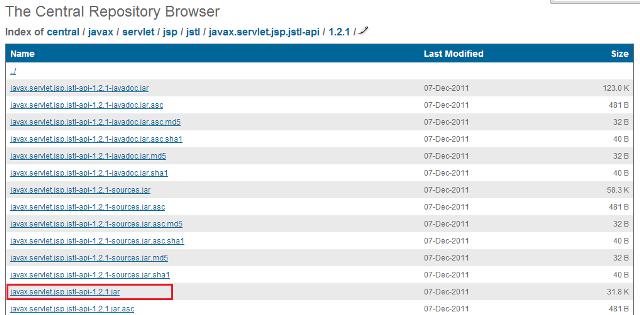 Página direcionada após acesso ao link JSTL API
