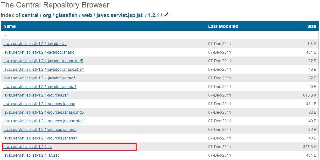 Página direcionada após acesso ao link JSTL Implementation