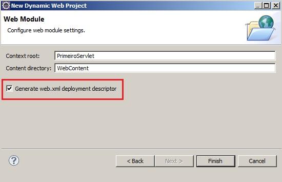 Etapa de configuração marcar a opção para gerar o Deployment Descriptor