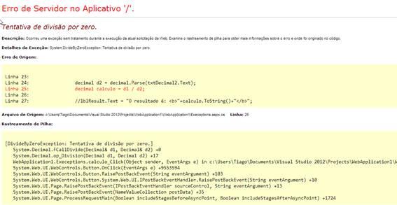 Tela de erros padrão asp.net
