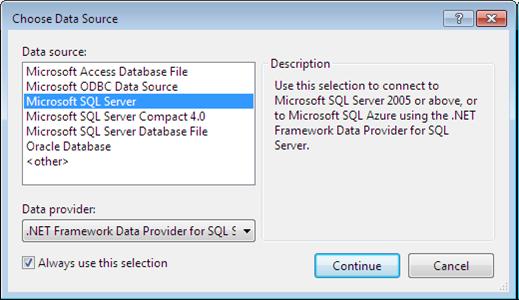 Caixa de dialogo para escolha da fonte de dados