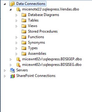 Conexão ativa com o banco de dados Vendas pelo Server Explorer