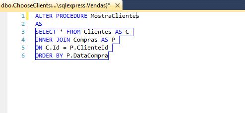 Script SQL para criação da Procedure pelo visual studio