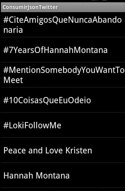 Lista com Top Trend do Twitter